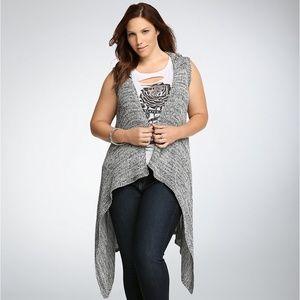 Torrid Hooded Drape Front Knit Vest